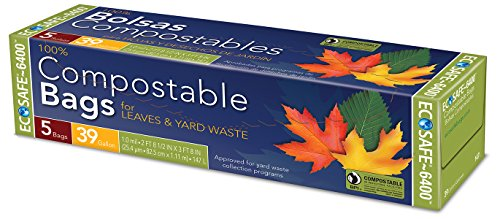 Compost Bags Green 39 Gallon Lawn & Leaf Trash Bags Flat Top Cut Garbage Bags 5 Count - EcoSafe (No Twist Ties Added)