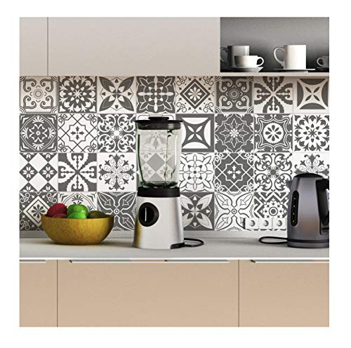 Stickers muraux Cuisine - Sticker Mural - Carreaux de Ciment adhésif Mural - Stickers Muraux azulejos - Sticker Carrelage adhesif Mural Salle de Bain 15 x 15 cm - 30 pièces Carreau de Ciment adhesif