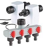 Royal Gardineer Automatische Wasseruhr: Elektronisch gesteuertes Magnet-Ventil im 2er-Set mit 4-Wege-Verteiler (Gartenschlauch Ventil elektrisch)