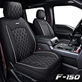 Aierxuan Car Seat Covers Full Set with Waterproof Leather, Automotive Vehicle Cushion Cover for Cars Fit for 2009 to 2021 Ford F150 and 2017 to 2021 F250 F350 F450(Black and White)