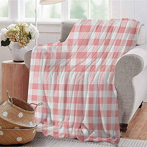 Luoiaax Checkered Commercial Grade Printed Blanket Picnic in Countryside Themed Gingham Pattern in Soft Colors Print Queen King W57 x L74 Inch Pink Pale Pink White
