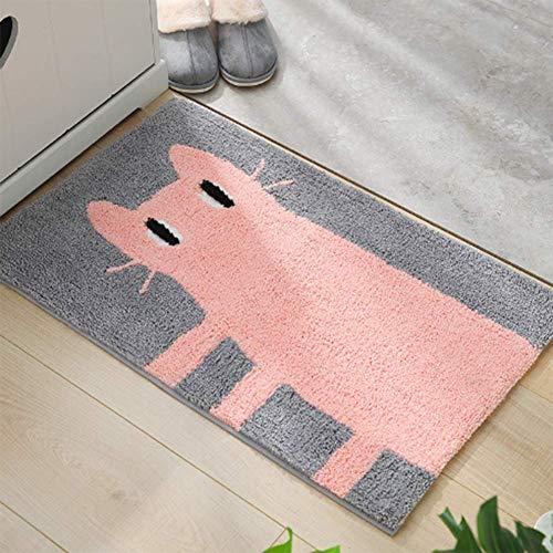 ZHOUAICHENG Teppich Katze Fußmatte Außenteppiche Gummibodenmatte rutschfeste Küchenteppich Eingangsmatten Saugfähigen Badezimmer Fußmatte,B,50 * 80cm