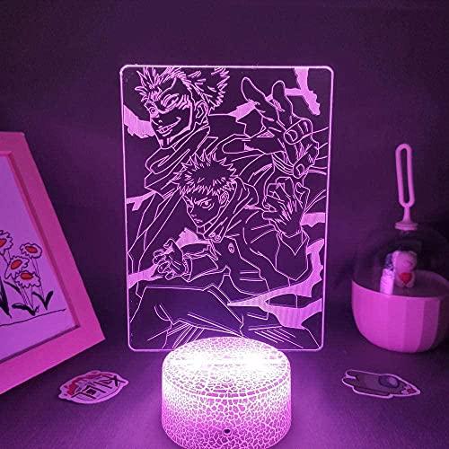 Luz nocturna LED 3D de ilusión anime Jujutsu Kaisen, figura de lámpara USB para dormitorio, lámpara de mesita de noche, decoración, Navidad, festival, regalo para amigos