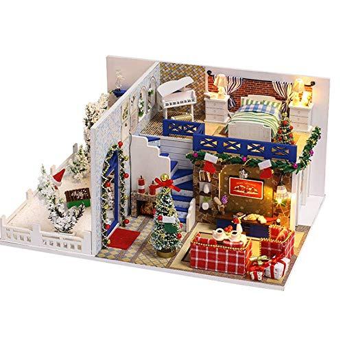 NDYD Muñeca en Miniatura Casa de Madera DIY Cottage Casa de Navidad Modelo Modelo Mano Hecho A Mano Estéreo Estéreo Creativo Juguetes Educativos (Enviar Cubierta de Polvo) DSB