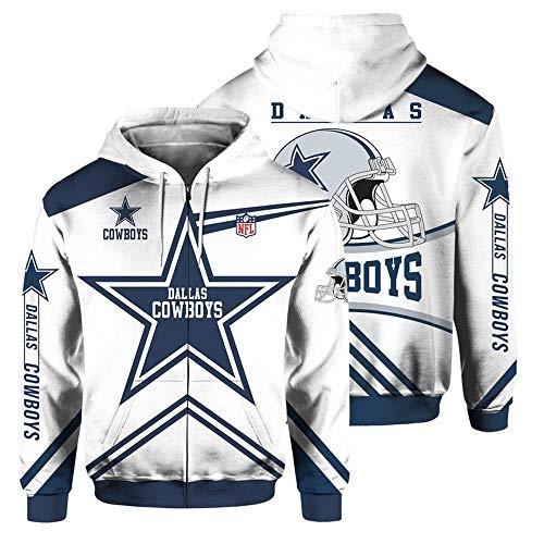 QWEIAS Sudadera con Capucha para Hombre - NFL Dallas Cowboys Fans Casual Unisex Zipper Sweater Pullover Impresión 3D Primavera Otoño Chaquetas de Manga Larga XL