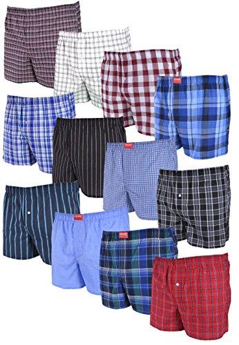 4, 8 of 12 stuks losse, geweven boxershorts; meestal geruite boksers; Losse pasvorm Amerikaanse stijl maten S / 4 tot 4XL / 10 beschikbaar