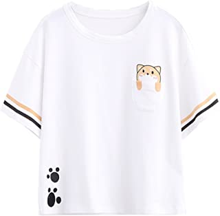Packitcute White T-Shirts for Teen Girl Cute Dog Shorts Sleeve Top Tees