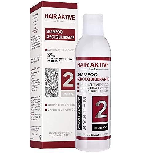 Shampoo Anti-Caduta Per Uomo e Donna Made in Italy. Sebo-equilibrante N2 per Ricrescita dei Capelli. Per Capelli Grassi, Sottili, Secchi in200ml