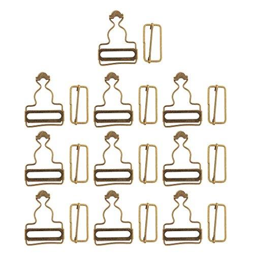 Homyl 6 Paar insgesamt Schnallen Schiebe Latzhosenschnallen für Hosenträger Latzhosen - Bronze