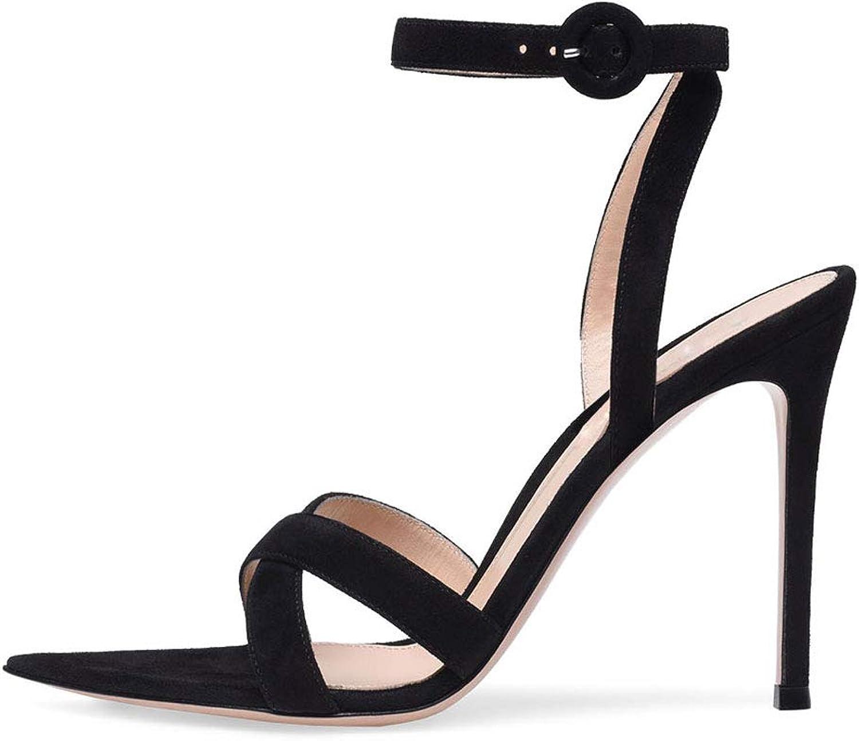 Stiletto Stiletto Stiletto Pumpar, hög klack Sandals Ankle Strap Buckle Points Open Toe Sandals Slingback Non -Slip Party Party Dress Woherrar skor  stort urval
