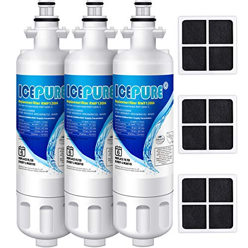ICEPURE Refrigerator Water Filter and Air Filter, Compatible with LG LT700P, ADQ36006101, KENMORE 46-9690, 9690, ADQ36006102, WSL-3, LFXS30766S, LFXC24726D, and LT120F Air Filter, RWF1200A, 3 Combo