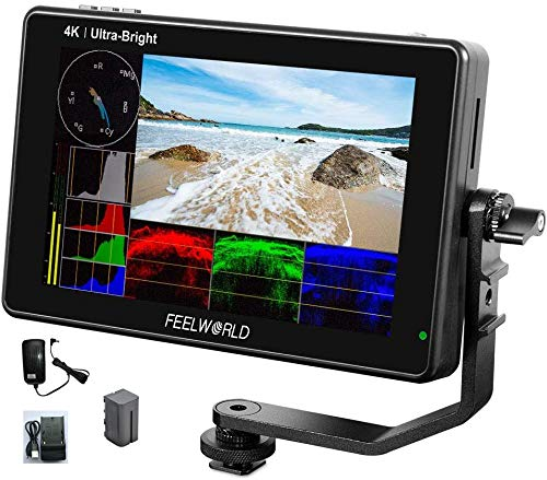 Feelworld LUT7S 7'' Camera Field Monitor 4K 1920X1200 2200nits 3D LUT Touch Screen DSLR Waveform VectorScope Histogram 3G-SDI HDMI Input Output IPS Adapter 12V (LUT7S 7'' HDMI and SDI with Battery)