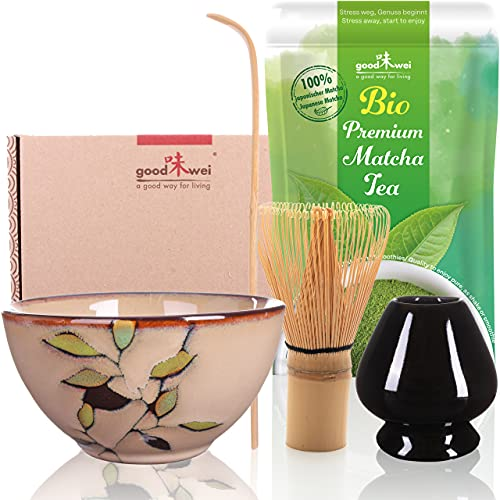 Goodwei Theeceremonieset met hoogwaardige Matcha schaal en echte biologische Matcha uit Japan (Bamboo)