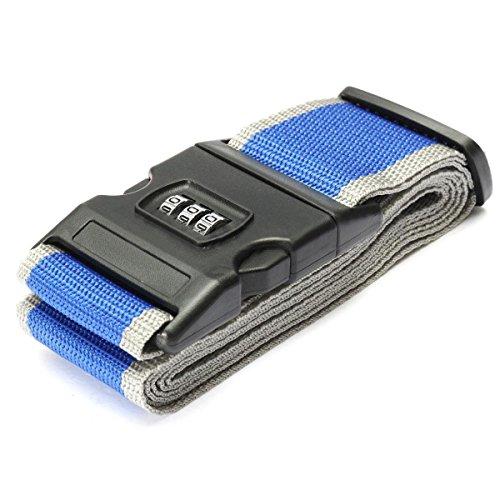 cinghie bagagli - TOOGOO(R) Sicurezza Cinghia Cintura Serratura Combinazione Valigia Viaggi Bagagli Fascia colore:Blu+Grigio