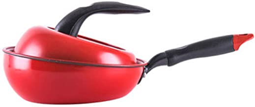 LJBH Frying Pan, Flat Bottom Frying Pan, Maifan Stone Coating, Non-stick Pan, Aluminum Alloy Material, 8 Inch Red Ergonomi...