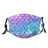 Prientomer Colorful Mermaid Tail Face Mask, Decorative|Adjustable, With 2 Filters For Men And Women Balaclava Bandana Cloth