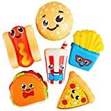 6 Squishy Toys for Kids Fast Food, Squishies Jumbo Slow Rising Pack Taco Pizza Burger 3.75 Inch - Stress Relief Fidget Soft Sensory Kawaii Toy Great Gift for Boys & Girls by 4E's Novelty