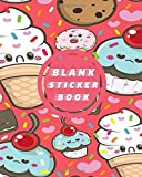 Blank Sticker Book: Red Kawaii Ice Cream Donut Cupcake Blank Sticker Album 100 Pages 8x10; Sticker Album for Collecting Stickers, (My Sticker Album Collection)