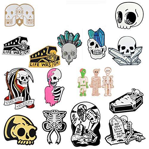 DASHUAI 2 Piezas Feliz Fiesta De Halloween Regalo Punk Gótico Oscuro Esqueleto Cráneo Colección Ataúd Zombie Momia Costilla Esmalte Broches Pines
