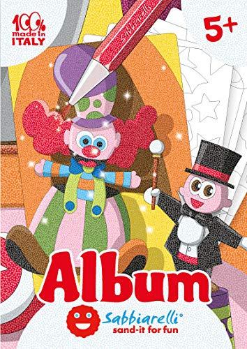 Sabbiarelli Sand-it for Fun - Album Le Cirque : 5 Dessins préencollés à colorier avec Le Sable (Sable Non Inclus), Convient pour Les Enfants Ans 5+