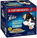 FELIX Katzennassfutter So gut wie es aussieht in Gelee Geschmacksvielfalt aus dem Wasser, 4er Pack (4 x 24 x 85g) Portionsbeutel