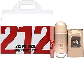 212 VIP Rose by Carolina Herrera for Women 3 Piece Set Includes: 2.7 oz Eau de Parfum Spray + 12 x 0.27 oz Body Lotion Sachets + 0.1 oz Eau de Parfum Marker