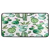 Felpudo grande con diseño de cactus y flores, para interiores, antideslizante, absorbente, para exteriores, lavable, 99 x 51 cm
