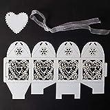 VGOODALL 100 Stück Hochzeit Gastgeschenke Süßigkeiten Kasten Gastgeschenke Schachtel Hochzeit Taufe Geschenkbox Kartonage Tischdeko Hochzeit Dekoration (Weiß) - 2