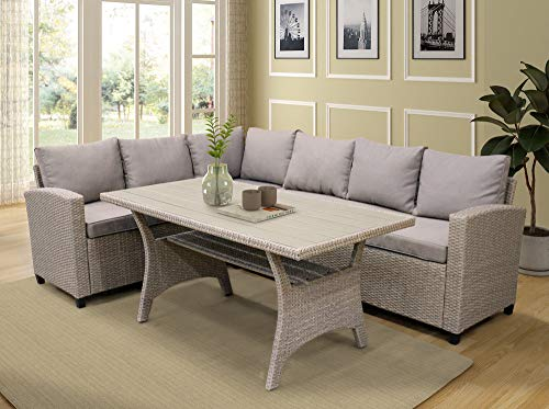 LZ LEISURE ZONE Patio Dining Table Set Outdoor Furniture PE Rattan Wicker Conversation Set All-Weather Sectional Sofa Set with Table & Soft Cushions (Brown)