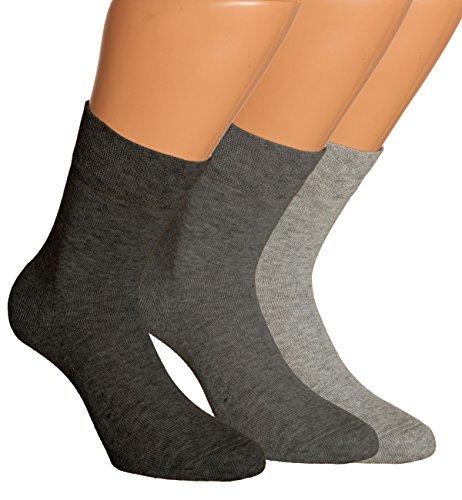 Vitasox 13307 Damen Wellness Socken Damensocken Baumwolle mit Frotteesohle einfarbig ohne Gummi silber 6er Pack 39/42
