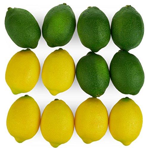 Juvale Künstliche Zitronen und Limetten (Set, 12 Stück) - Realistisches Aussehen - Als Dekoration, für Zuhause, Küche - Gelb, Grün