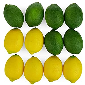 Juvale Large Artificial Lemons and Limes, Realistic Decorative Home Kitchen Fake Prop Fruit – Set of 12