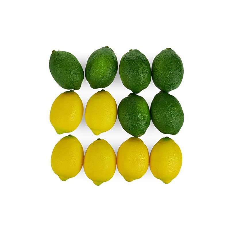 silk flower arrangements juvale large artificial lemons and limes, realistic decorative home kitchen fake prop fruit - set of 12