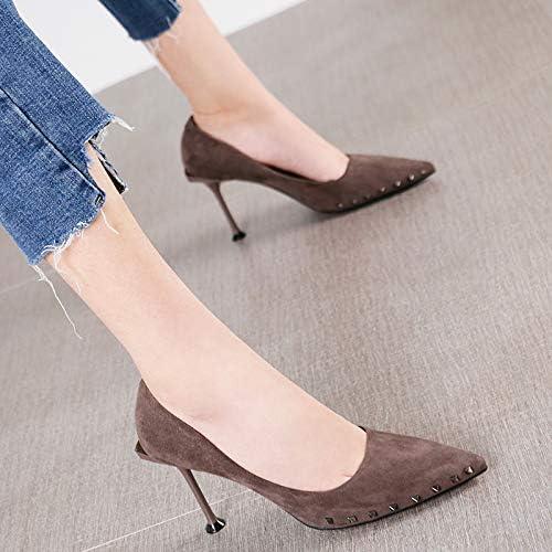 HRCxue zapatos de la Corte zapatos de tacón de Aguja con Punta de tacón de Aguja para mujer, Modelo Profesional, 36, marrón