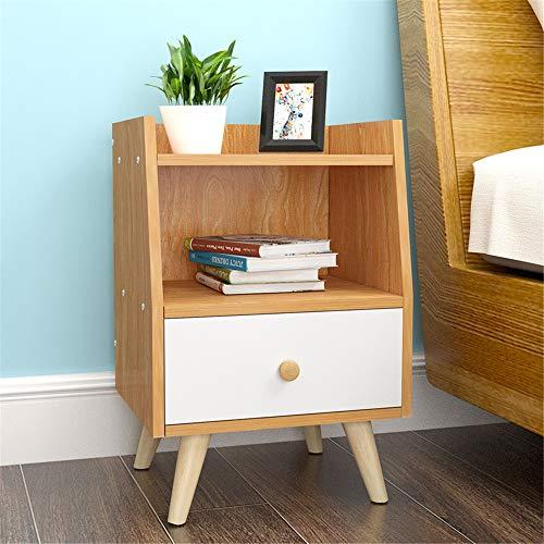 Madeinely Mesitas de noche mesita de noche de madera con cajón y gabinete para el hogar, dormitorio, estante abierto, mesitas de noche, almacenamiento de dormitorio (color: A, tamaño: 37 x 30 x 53 cm)