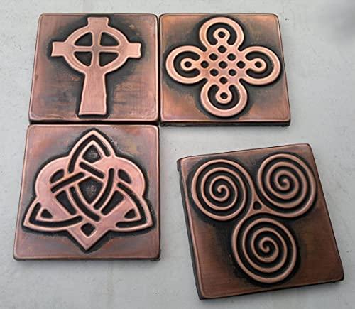 Metal Copper Decorative Wall Tiles - Celtic Motive - 4 pcs