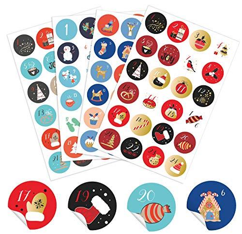 ANYUNKEY 4 x 24 Verschiedene Adventskalender Zahlen Aufkleber,5cm, 24 Sticker groß Nummern Aufkleben für Weihnachten zum Selber Basteln und Dekorieren, Runde Weihnachtskalender Zahlenaufkleber 2020