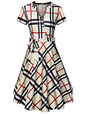 Diphi LiLi Women's V Neck Dresses Long Sleeve Botton Down Shirt Vintage Plaid Dress