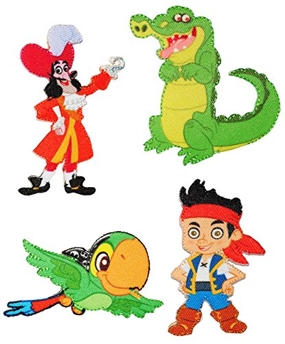 "4 tlg. Set: Bügelbilder - "" Disney - Jake und die Nimmerland Piraten "" - 5 cm * 8 cm - Aufnäher Applikation - Pirateninsel / Piratenschiff - gewebter Flicken - Jungen & Mädchen / Kinder - Käpn`t Jake´s / Peter Pan - Hook Skully Krokodil"