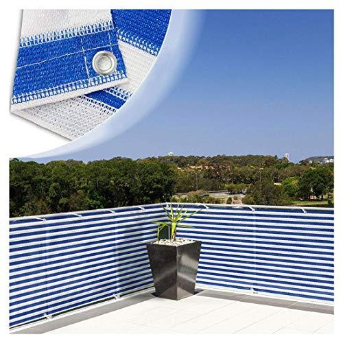 Panneaux D'ombrage Shade 90% Sun Shade Tissu Pergola Couverture Porche Écran Vertical 6.6 X 6.6ft Résistant UV Résistant Aux UV Sun Mesh Shade Bleu Blanc for Couverture Jardin Plantes Fleurs Sunblock