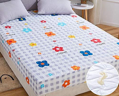 XLMHZP sabanas bajeras Ajustables,Sábana Impermeable, Protector de colchón Transpirable y Lavable, sábana de Ajuste Fijo Antideslizante Acolchado Grueso-F_150x200cm + 30cm