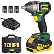 #LightningDeal TECCPO Impact Wrench, Brushless 20V MAX Cordless Impact Wrench, 4.0Ah Li-ion Battery, 1/2 Inch, 300 Ft-lbs(400N.m) Max, 3 Variable Speed Wrench, 1 hour Fast Charger, 3 Sockets, Tool Box - BHD850B