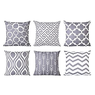Top Finel 100% Durable Canvas Square Decorative Throw Pillows Cushion Covers Pillowcases For Sofa,Set of 6,18×18 Inch- Grey