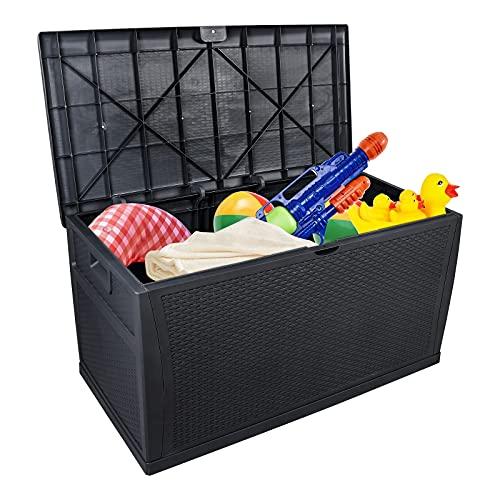 JYXJJKK (Compra directa británica) Caja de herramientas de resina resistente a la intemperie, asiento con cerradura impermeable con función de apertura y cierre asistida de pistón (color negro)