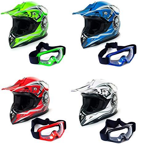 Bonz Mx Kids Junior Youths Children's MOTOCROSS dirt quad BIKE helmet & goggles (Child WHITE, Small 55cm to 56cm)