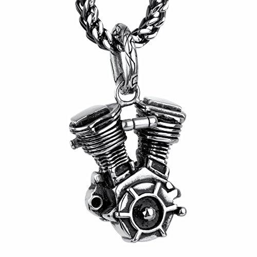 COPAUL Joyería Colgantes del Collar de Hombre,Acero Inoxidable Motocicleta Motor,Negro Plata