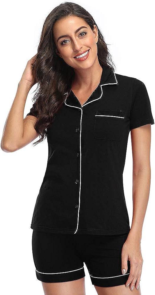 Pajamas for Women Lounge Set Cotton Sleepwear Comfy Soft Long Button Down Lingerie Cotton Nightwear Pajamas Set PJS for Women
