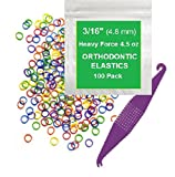 3/16 Inch Orthodontic Elastic Rubber Bands, 100 Pack, Neon, Heavy 4.5 Ounce Small Rubberbands Dreadlocks Hair Braids Fix Tooth Gap, Free Elastic Placer for Braces