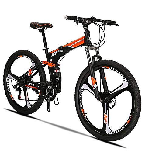 Extrbici G7 Mountain Bike 21 Speed Steel Frame 27.5 Pulgadas Ruedas Doble Suspensión Bicicleta Plegable (Naranja) (Naranja)