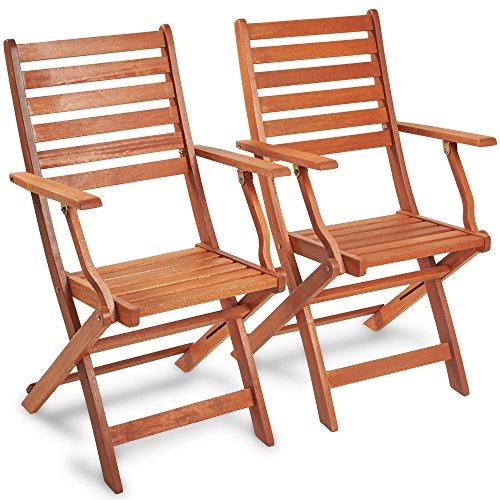 VonHaus VonHaus Klappstühle aus Holz 2 Stück - 2-teiliges Set Lehnstühle aus Meranti Hartholz mit gebeizter Oberfläche Teak-Öl